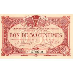 Lorient (Morbihan) - Pirot 75-14 - 50 centimes - Sans Série - 03/09/1915 - Etat : NEUF