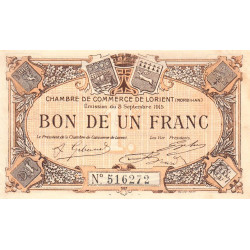 Lorient (Morbihan) - Pirot 75-15 - 1 franc - Sans Série - 03/09/1915 - Etat : TTB