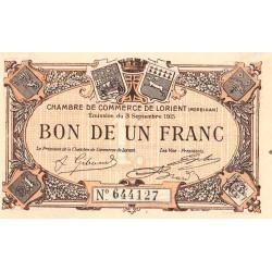 Lorient (Morbihan) - Pirot 75-15 - 1 franc - Sans Série - 03/09/1915 - Etat : SPL