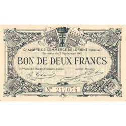 Lorient (Morbihan) - Pirot 75-16 - 2 francs - Sans Série - 03/09/1915 - Etat : NEUF