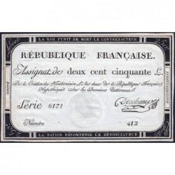 Assignat 45a - 250 livres - Signature 4 - 7 vendémiaire an 2 - Série 6171 - Etat : SPL+