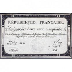 Assignat 45a - 250 livres - Signature 19 - 7 vendémiaire an 2 - Série 6191 - Etat : SUP