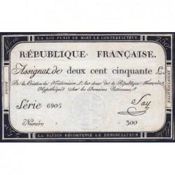 Assignat 45a - 250 livres - Signature 19 - 7 vendémiaire an 2 - Série 6905 - Etat : TTB+