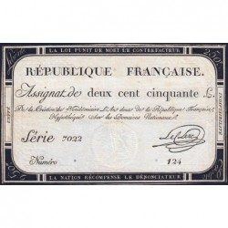 Assignat 45a - 250 livres - Signature 14 - 7 vendémiaire an 2 - Série 7022 - Etat : TTB