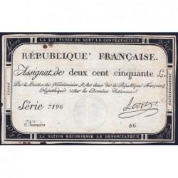 Assignat 45a - 250 livres - Signature 15 - 7 vendémiaire an 2 - Série 7196 - Etat : TTB