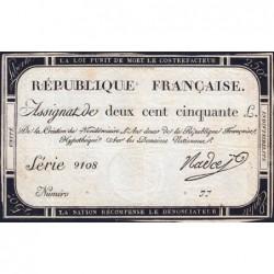 Assignat 45a - 250 livres - Signature 18 - 7 vendémiaire an 2 - Série 9108 - Etat : TTB