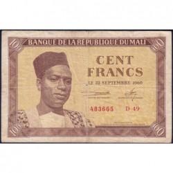 Mali - Pick 2 - 100 francs - Série D 49 - 1960 - Etat : TB