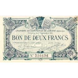 Lorient (Morbihan) - Pirot 75-19 - 2 francs - Sans Série - 03/09/1915 - Etat : TTB