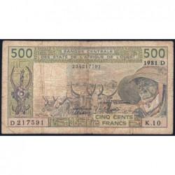 Mali - Pick 405Dc - 500 francs - Série K.10 - 1981 - Etat : B