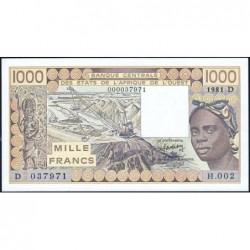 Mali - Pick 406Db_1 - 1'000 francs - Série H.002 - 1981 - Erreur numéro - Etat : NEUF