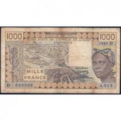 Mali - Pick 406Dg - 1'000 francs - Série A.013 - 1986 - Etat : B+