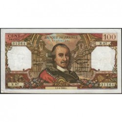 F 65-07 - 01/04/1965 - 100 francs - Corneille - Série N.87 - Etat : TB+