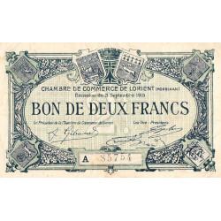 Lorient (Morbihan) - Pirot 75-22 - 2 francs - Série A - 03/09/1915 - Etat : TB+