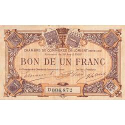 Lorient (Morbihan) - Pirot 75-33 - Série D - 1 franc - 1920 - Etat : TB+