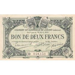 Lorient (Morbihan) - Pirot 75-34 - 2 francs - Série D - 30/04/1920 - Etat : SUP