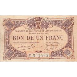 Lorient (Morbihan) - Pirot 75-36 - Série E - 1 franc - 1920 - Etat : TB+