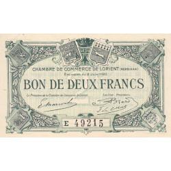 Lorient (Morbihan) - Pirot 75-37 - 2 francs - Série E - 02/06/1920 - Etat : SUP+