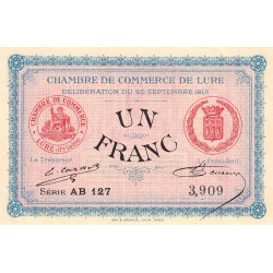 Lure - Pirot 76-7 - 1 franc - Série AB 127 - 25/09/1915 - Etat : SPL