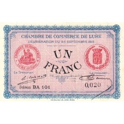 Lure - Pirot 76-15 - 1 franc - Série BA 101 - 25/09/1915 - Petit numéro - Etat : SUP+
