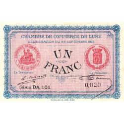 Lure - Pirot 76-15 - Série BA 101 - 1 franc - Petit numéro - 1915 - Etat : SUP+