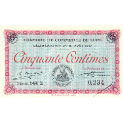 Lure - Pirot 76-18 - 50 centimes - Série 144 Z - 21/08/1917 - Etat : NEUF