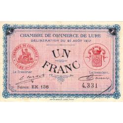 Lure - Pirot 76-22 - 1 franc - Série EK 136 - 21/08/1917 - Etat : TTB+