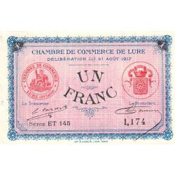 Lure - Pirot 76-22 - 1 franc - Série ET 145 - 21/08/1917 - Etat : NEUF