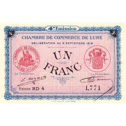Lure - Pirot 76-26 - 1 franc - Série RD 4 - 09/09/1918 - Etat : SPL+