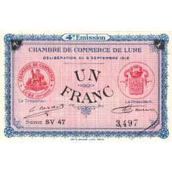 Lure - Pirot 76-28 - Série SV 47 - 1 franc - 1918 - Etat : SUP+