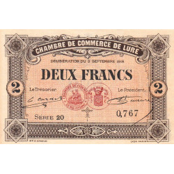 Lure - Pirot 76-30 - 2 francs - Série 20 - 09/09/1918 - Etat : pr.NEUF