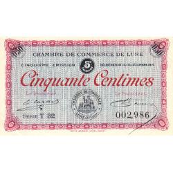 Lure - Pirot 76-32 - 50 centimes - Série T 32 - 16/12/1919 - Etat : SUP+