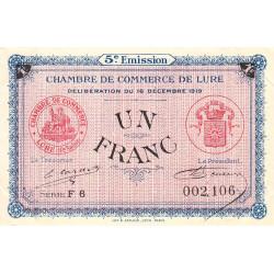 Lure - Pirot 76-34 - 1 franc - Série F 6 - 16/12/1919 - Etat : SUP+