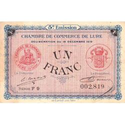 Lure - Pirot 76-34 - 1 franc - Série F 9 - 16/12/1919 - Etat : TB+