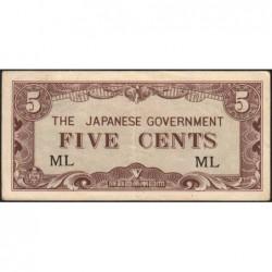 Malaisie Britannique - Pick M 2a - 5 cents - Série ML - 1942 - Etat : TTB
