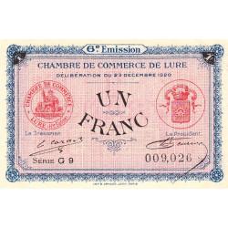 Lure - Pirot 76-37 - 1 franc - Série G 9 - 23/12/1920 - Etat : SUP+