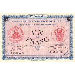 Lure - Pirot 76-37 - Série G 9 - 1 franc - 1920 - Etat : SUP+