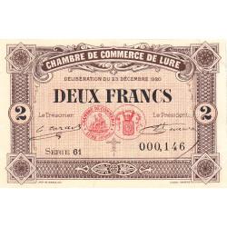 Lure - Pirot 76-39 - 2 francs - Série 61 - 23/12/1920 - Etat : SUP+
