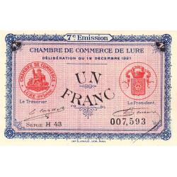 Lure - Pirot 76-43 - 1 franc - Série H 43 - 12/12/1921 - Etat : NEUF