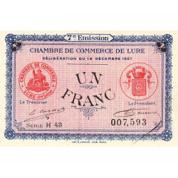 Lure - Pirot 76-43 - Série H 43 - 1 franc - 1921 - Etat : NEUF