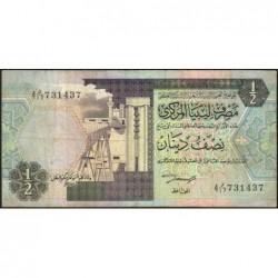 Libye - Pick 58b - 1/2 dinar - Série 4D/17 - 1991 - Etat : TB-