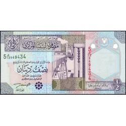 Libye - Pick 63 - 1/2 dinar - 2002 - Série 5D/12 - Etat : NEUF