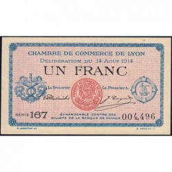 Lyon - Pirot 77-1b - 1 franc - Série 167 - 14/08/1914 - Etat : SPL+