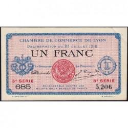 Lyon - Pirot 77-10 - 1 franc - 3e série 685 - 23/07/1916 - Etat : SUP