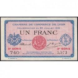 Lyon - Pirot 77-10 - 1 franc - 3e série 740 - 23/07/1916 - Etat : SUP
