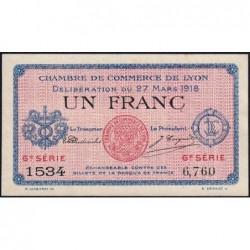 Lyon - Pirot 77-17 - 1 franc - 6e série 1534 - 27/03/1918 - Etat : SUP+
