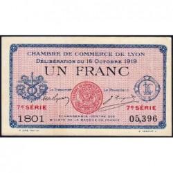 Lyon - Pirot 77-19 - 1 franc - 7e série 1801 - 16/10/1919 - Etat : SUP+
