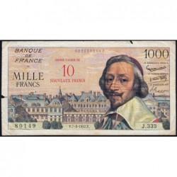 F 53-01 - 07-03/1957 - 10 nouv. francs sur 1000 francs - Série J.333 - Richelieu - Etat : TB-