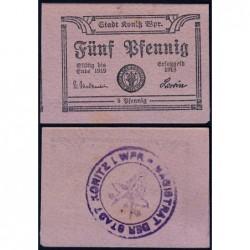 Pologne - Notgeld - Konitz (Chojnice) - 5 pfennig - Type b1 - 1918 - Etat : NEUF
