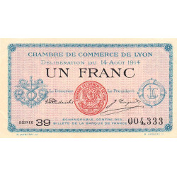 Lyon - Pirot 77-1a - 1 franc - Série 39 - 14/08/1914 - Etat : SUP+