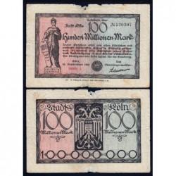 Allemagne - Notgeld - Köln -100 millions mark - Série A - 10/09/1923 - Etat : B